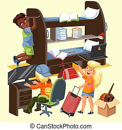 Students frat house colorful poster with roommates boys and girl with suitcase moving to her new dorm room vector illustration