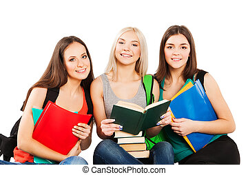 students, friends sitting together on a white background