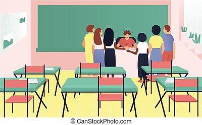 Students gathered around the teacher's desk