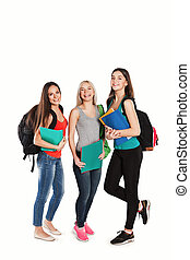 students girl standing together on a white background