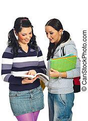Students girls having conversation