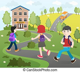 Students going to school - Two boys and a girl with...