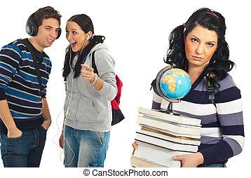 Students gossip and joke - Two rude students gossip and joke...