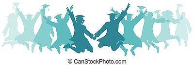 Students graduates jump, colorful silhouettes. Ceremony of graduation. Vector illustration