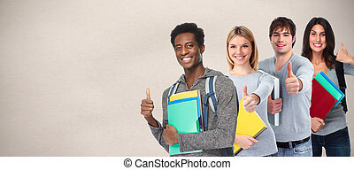 Students group. - Asiatic student girl and African-American...