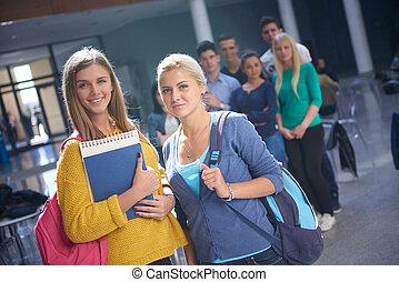 students group study - happy students group study in...