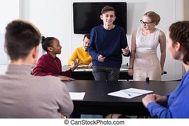 Students having conversation at recess