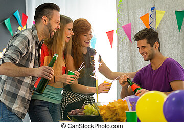 Students having home party