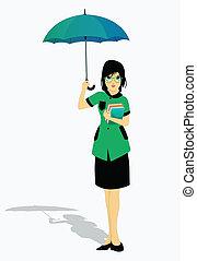 Students holding an umbrella