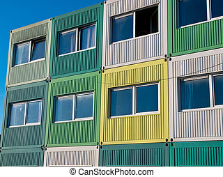 students housing in cargo containers in varied colors