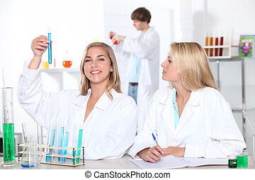 Students in a chemistry class