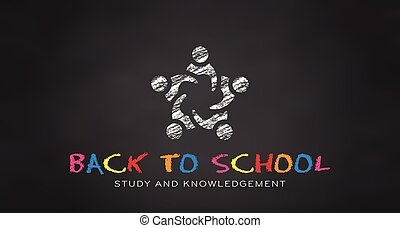 Students in Chalk. Black board Back to school. Vector