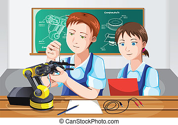 Students in class - A vector illustration of students...