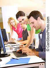 Students in computing training class