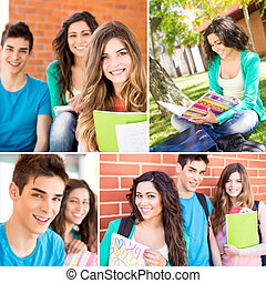 Collage of happy students in school campus