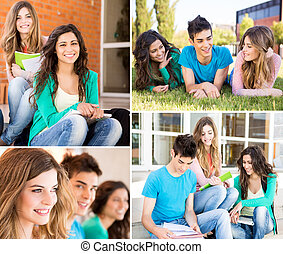 Students in school campus - Collage of happy students in...