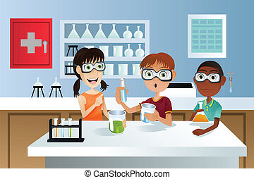 A vector illustration of students in a science class working on a science project
