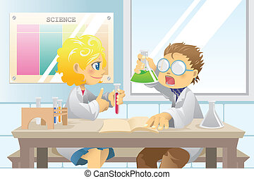 Students in science project