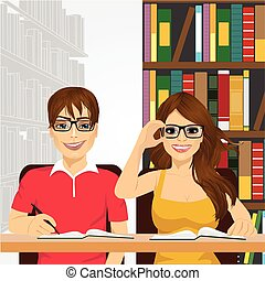 students in the college library
