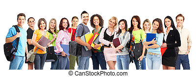 Students - Large group of smiling students. Isolated over ...