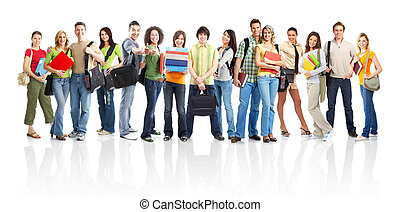 Students - Large group of smiling students. Isolated over...