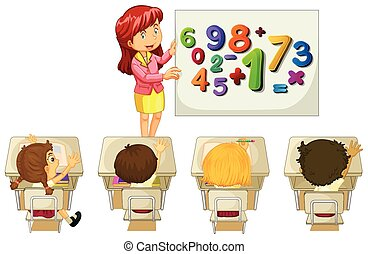 Students learning math in classroom