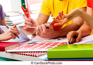 Students learning together - Young and active group of ...