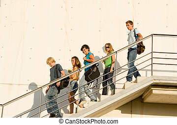 students leaving campus