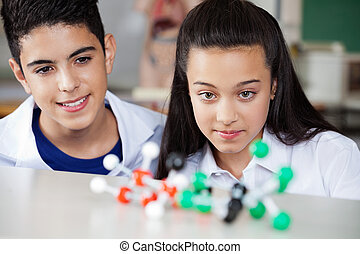 Students Looking At Molecular Structure