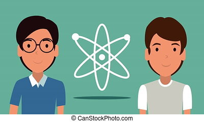 students of science with atom molecule animation - students...