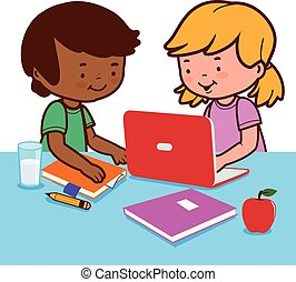 Students on a desk doing their homework. Vector Illustration...