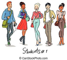 Students - part 1. Hand drawn teenagers, group of young...