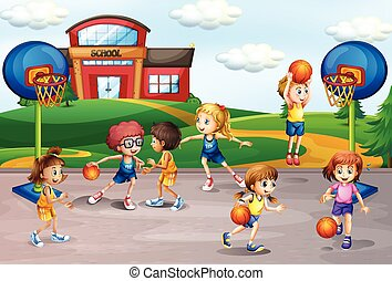 Students playing basketball in physical education