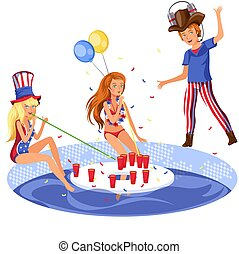 Students pool alcohol party - Happy girls and boy having...