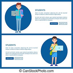Students Posters Online Education Concept Vector