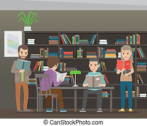Students Reading Textbook in Library Flat Vector - People...