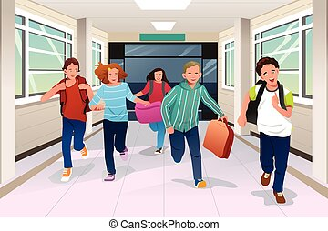 Students Running Outside - A vector illustration of happy...