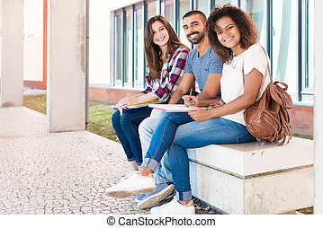 Students sharing notes
