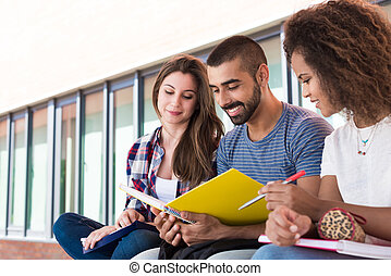 Students sharing notes in the university campus