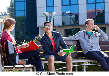 Students sitting on the bench