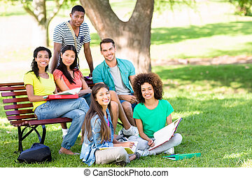 Students studying at campus