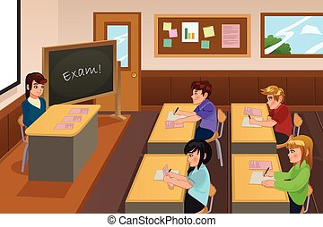 A vector illustration of students taking a exam in a class