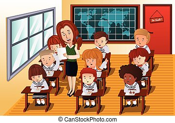 A vector illustration of students taking an exam in class