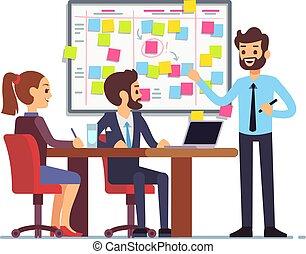 Students team work on tasks process schedule in training...
