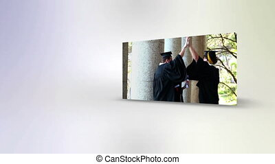 Students throwing their mortarboard - Animation with...