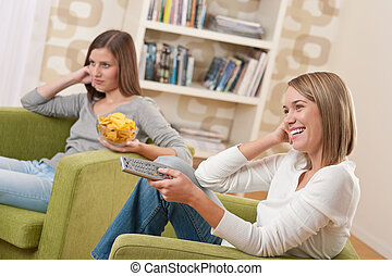 Students - Two female teenager watching television and ...