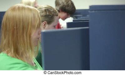 Students visiting locker in school