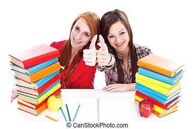 Students with books