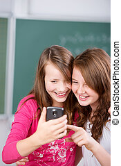 Students with cellular phone
