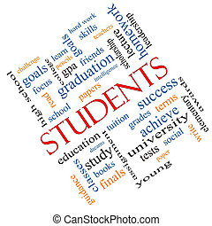 Students Word Cloud Concept angled with great terms such as education, learn, goals and more.